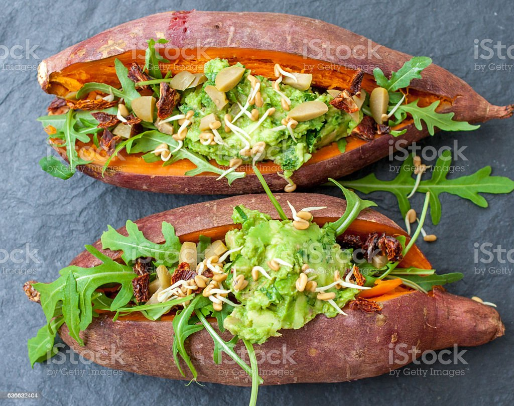 baked sweet potato stuffed stock photo