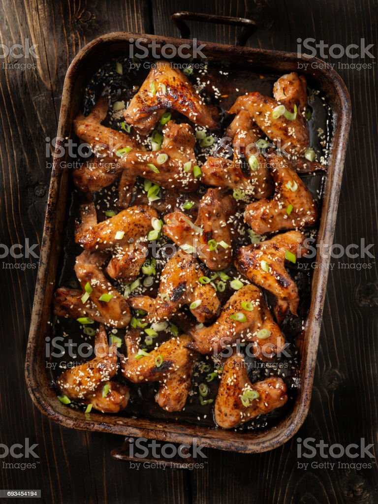 Baked Teriyaki Whole Chicken Wings stock photo