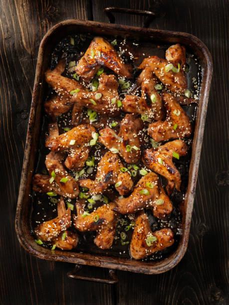 Baked Teriyaki Whole Chicken Wings stock photo