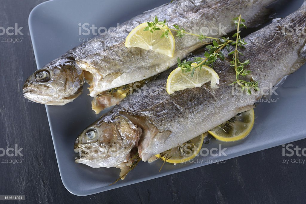 Baked trout royalty-free stock photo