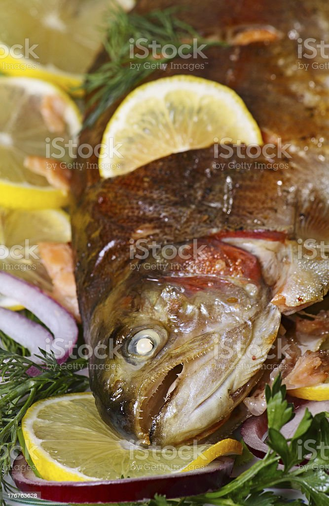 Baked trout. royalty-free stock photo