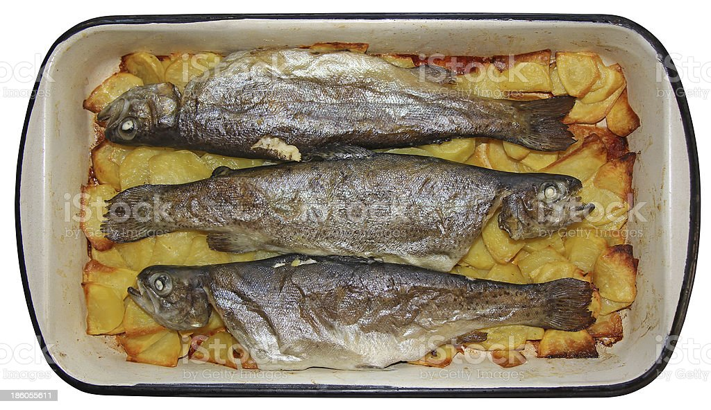 Baked trouts royalty-free stock photo