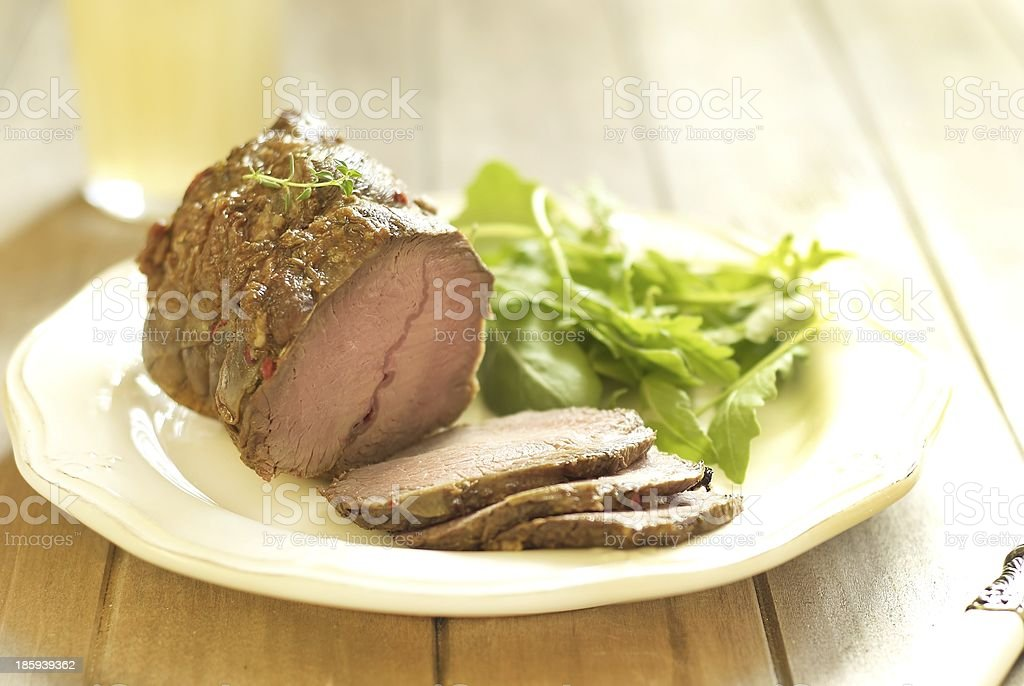 Baked veal with fresh salad royalty-free stock photo