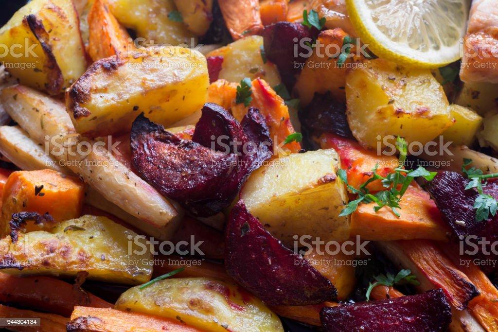 baked vegegetables roots macro - Royalty-free Alimentação Saudável Foto de stock