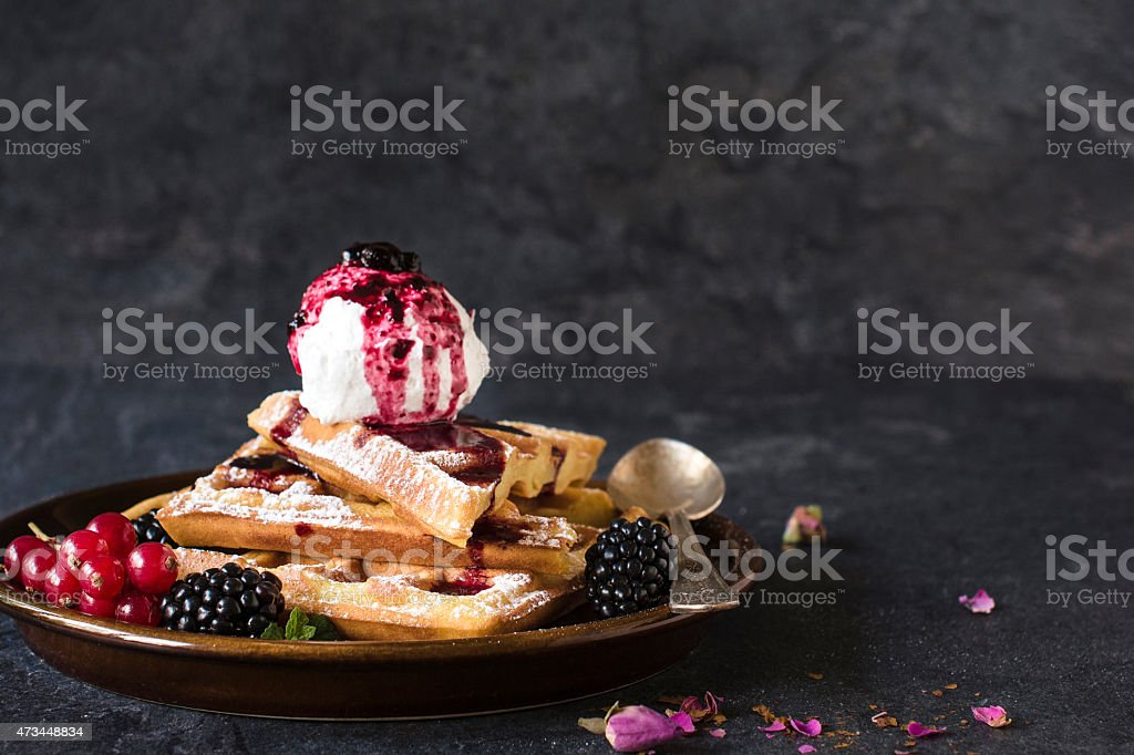 Baked waffles and ice cream stock photo