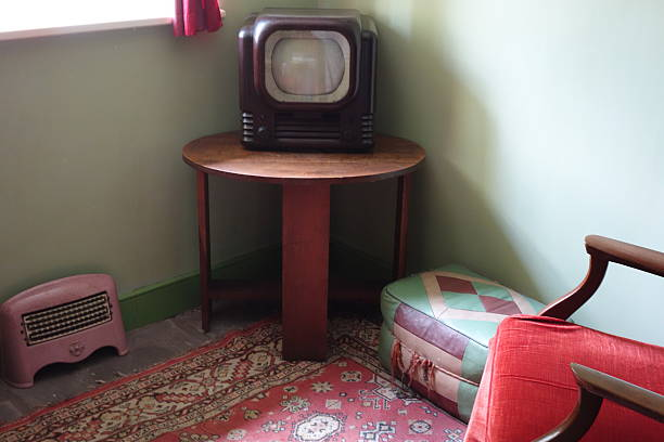 bakelite television and vintage furniture in a forties living-room stock photo
