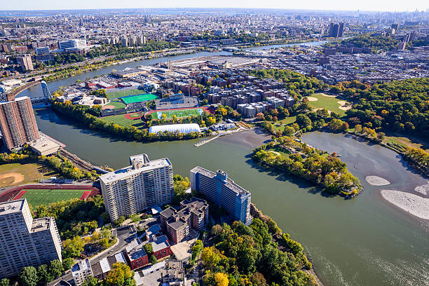 Baker Athletic Complex, Columbia University Campus, Spuyten Duyvil Creek, Bronx stock photo