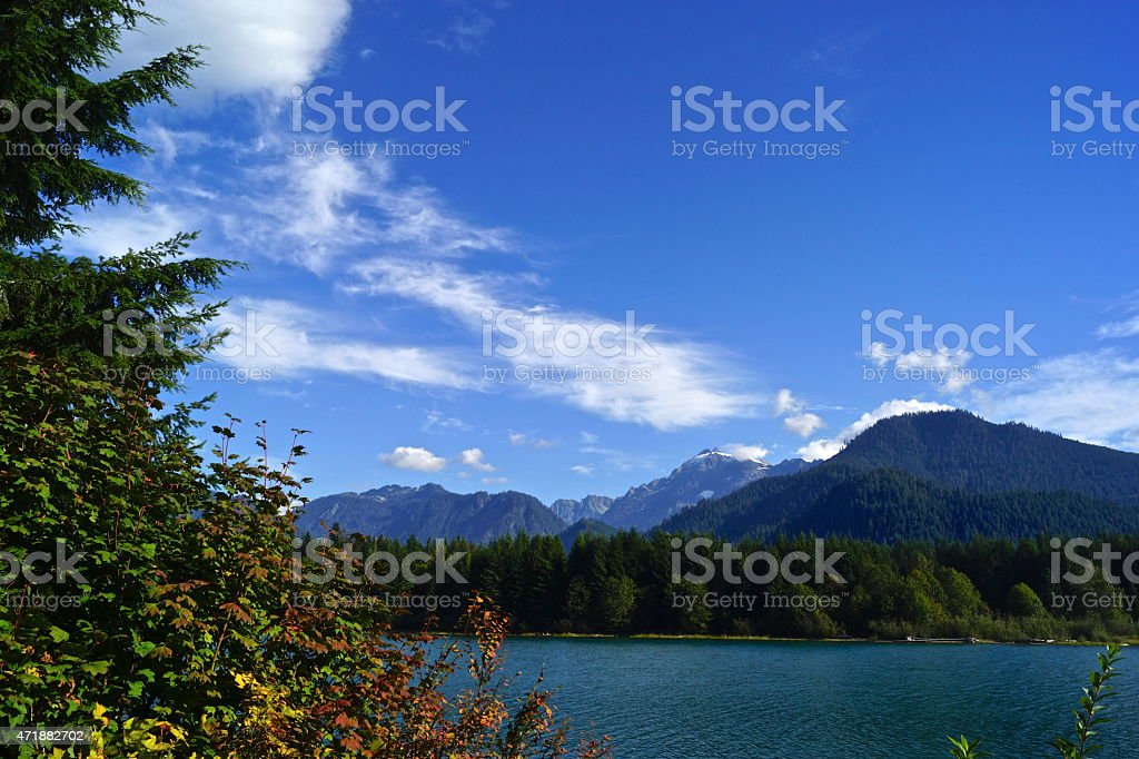 Baker Lake Blue Sky stock photo