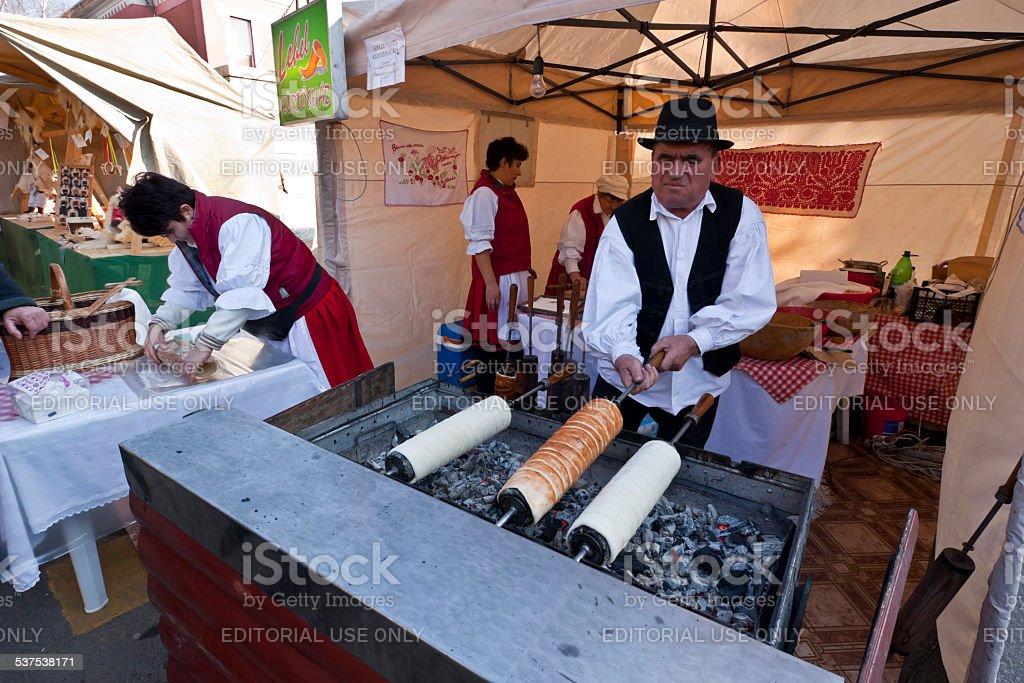 Baker make traditional Hungarian cake stock photo