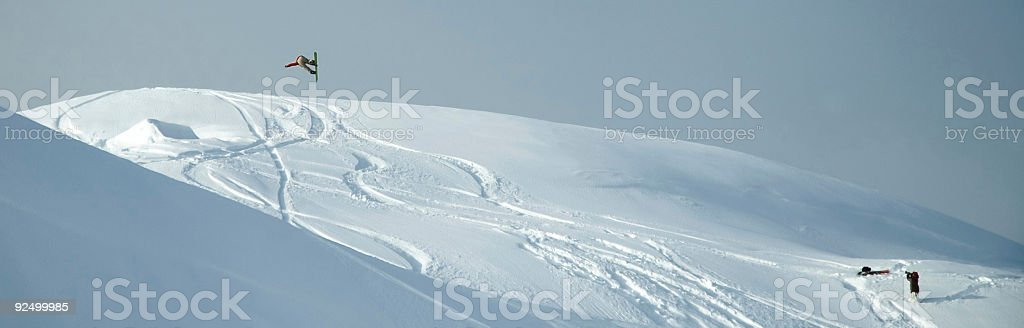 Baker -  Snowboarder Panoramic Offaxis spin royalty-free stock photo