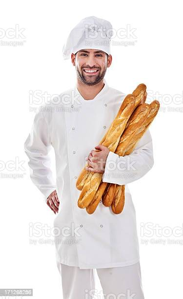 Baker With Fresh Bread Stock Photo - Download Image Now