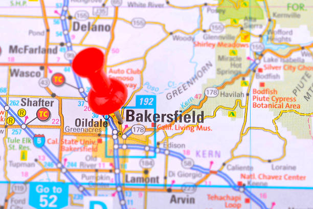 Bakersfield and Map stock photo