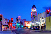 Bakersfield, California, USA - April 15, 2019: Evening view of the\nFox Theater along H street in the downtown district