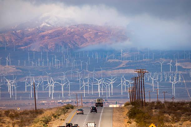 Bakersfield Wind Farm under Fog stock photo