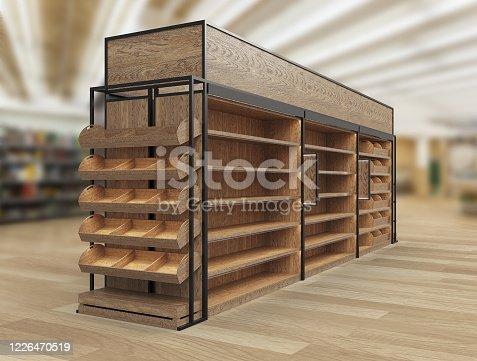 istock Bakery and Bread Display, Wood Slat Gondola Shelving Kit. 3D render illustration. 1226470519
