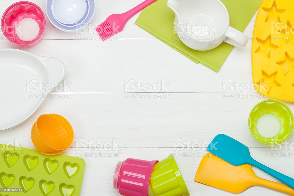 Bakery And Cooking Tools. Silicone Moulds, Cupcake Cases. Measur stock photo