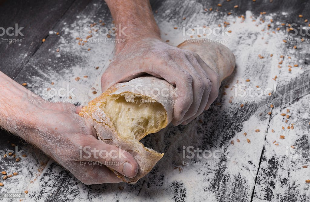 Bakery concept background. Hands breaking bread loaf stock photo