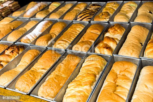 istock Bakery: Fresh baked homemade bread in tray arranged so artistically in front of bakery shop. 913023432