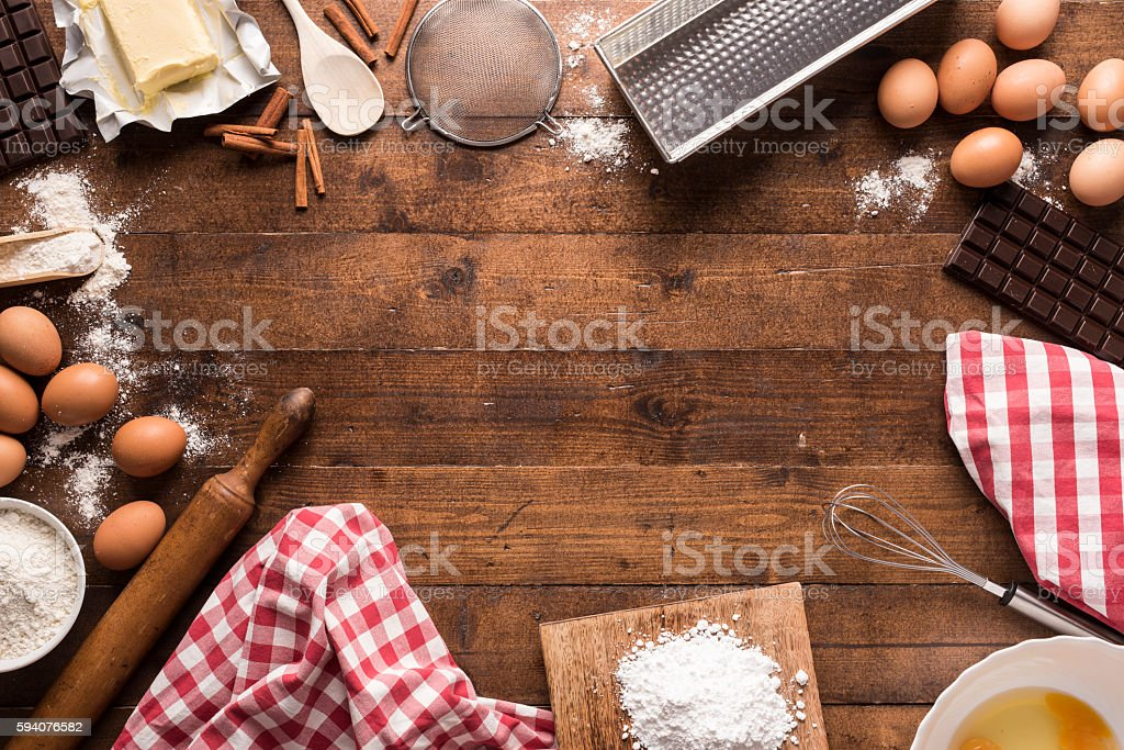 Bakery ingredients and tools royalty-free stock photo