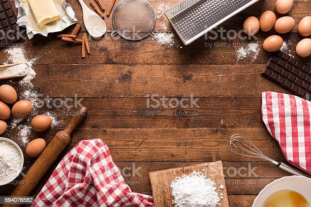 Bakery Ingredients And Tools Stock Photo - Download Image Now