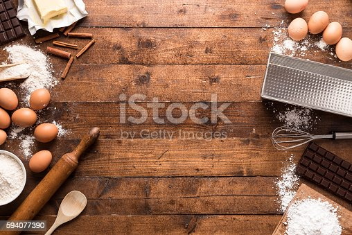 istock Bakery ingredients and tools 594077390