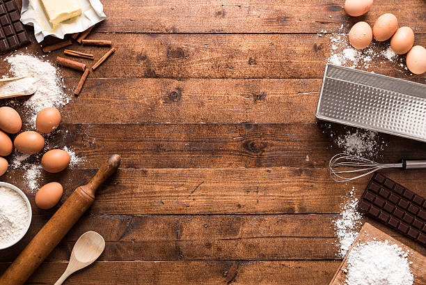 bakery ingredients and tools - bakery stockfoto's en -beelden