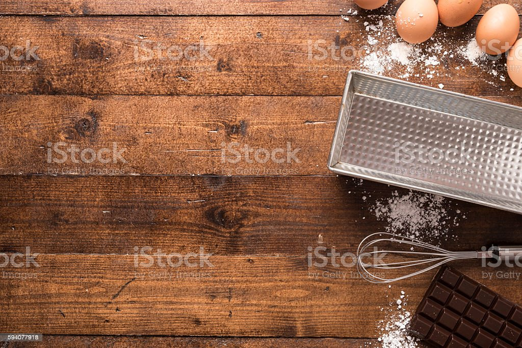 Bakery ingredients and tools stock photo