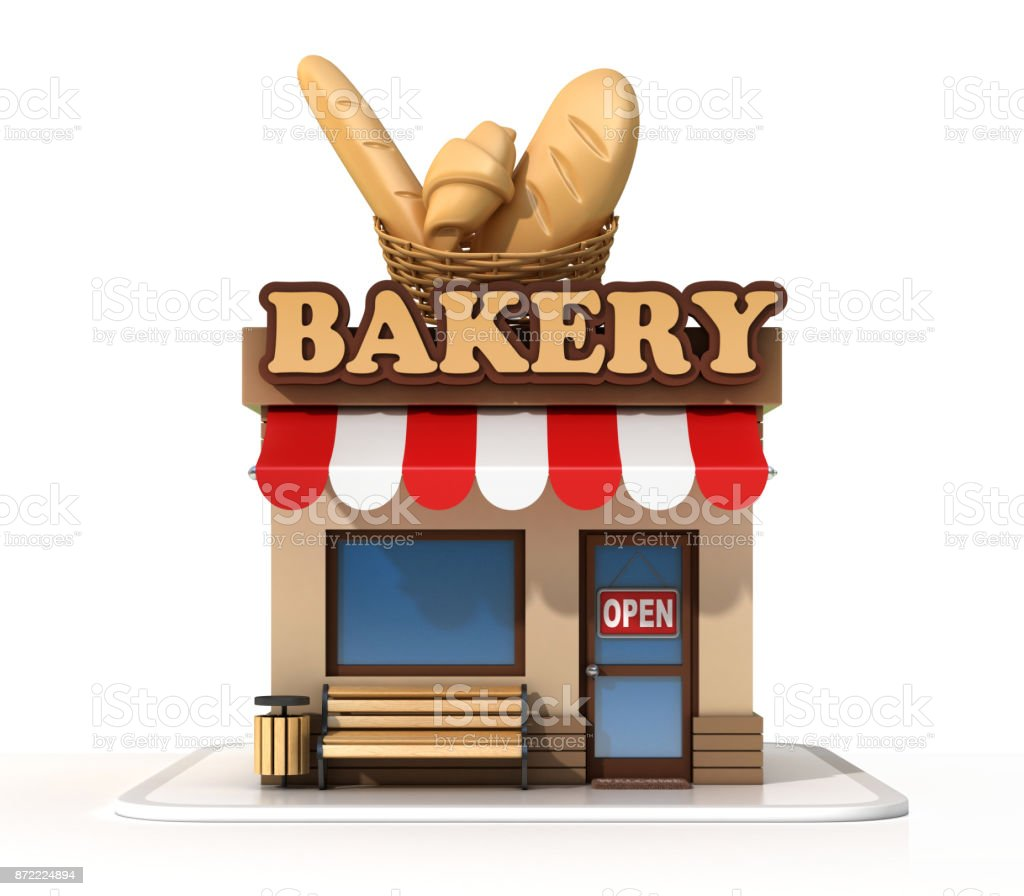 Bakery mini shop store front  on a white background 3d rendering stock photo