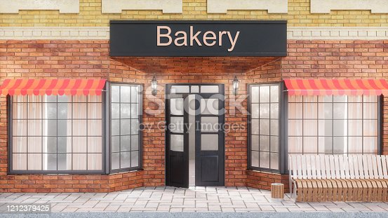 istock Bakery or shop with delicious pastries. Exterior of a building near the road - front view. View from street is a bench with a garbage bin, street lights, 3d illustration 1212379425