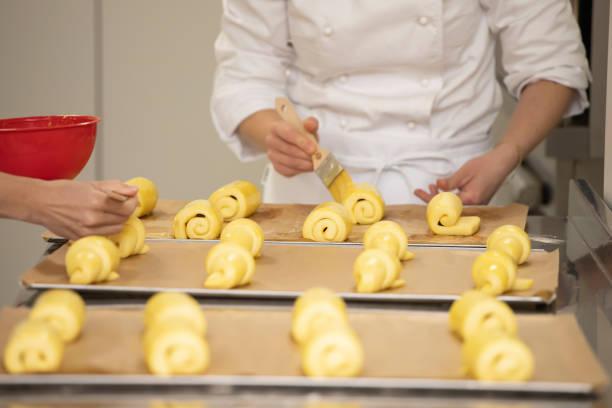 Bakery production close-up. stock photo