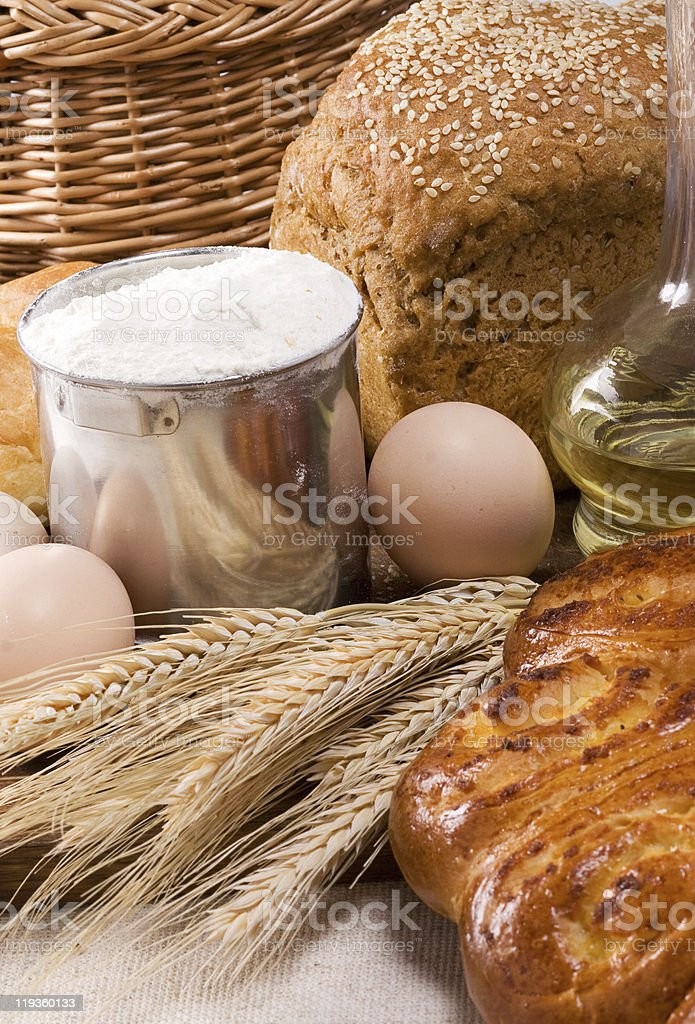 bakery products and eggs royalty-free stock photo