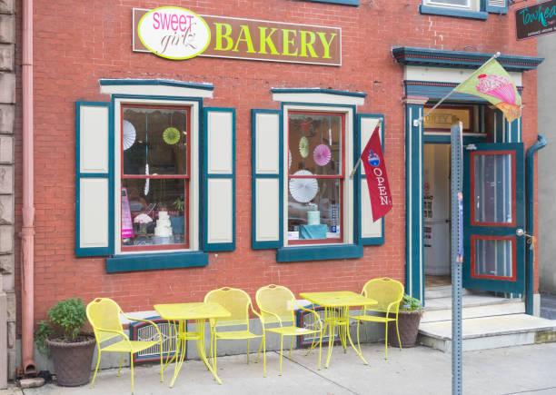 Bakery shop building facade with signboard. stock photo