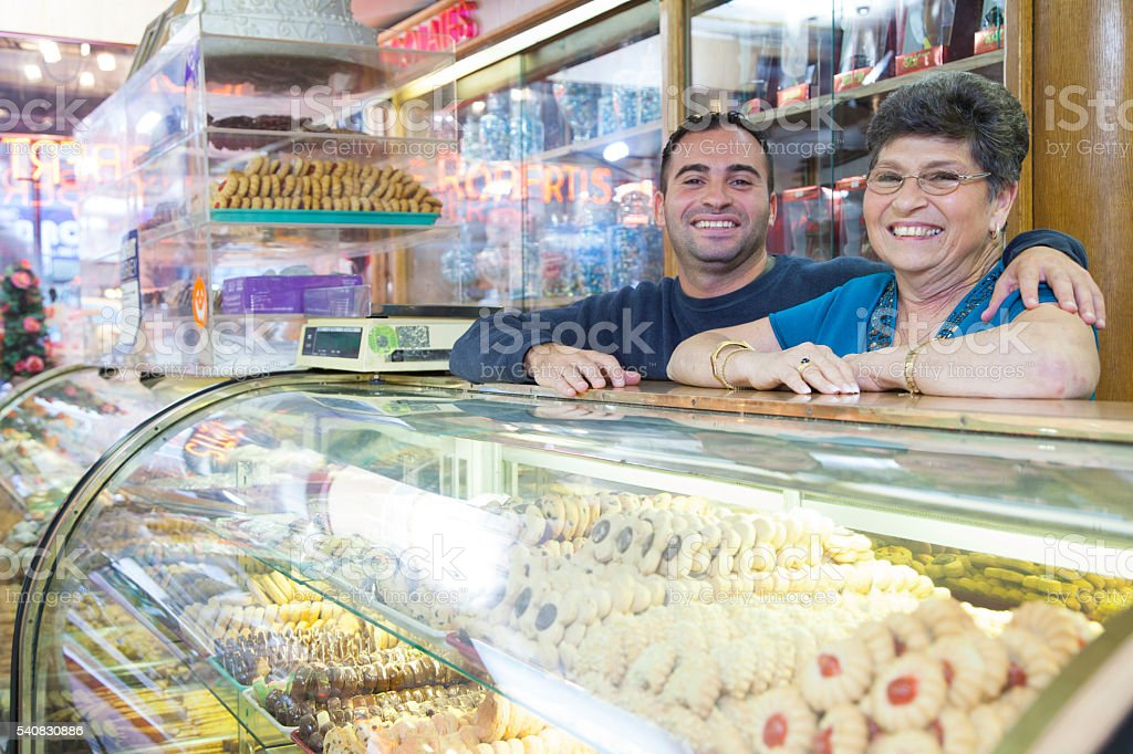 Bakery shop owners stock photo