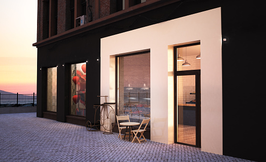 bakery storefront 3d rendering mockup