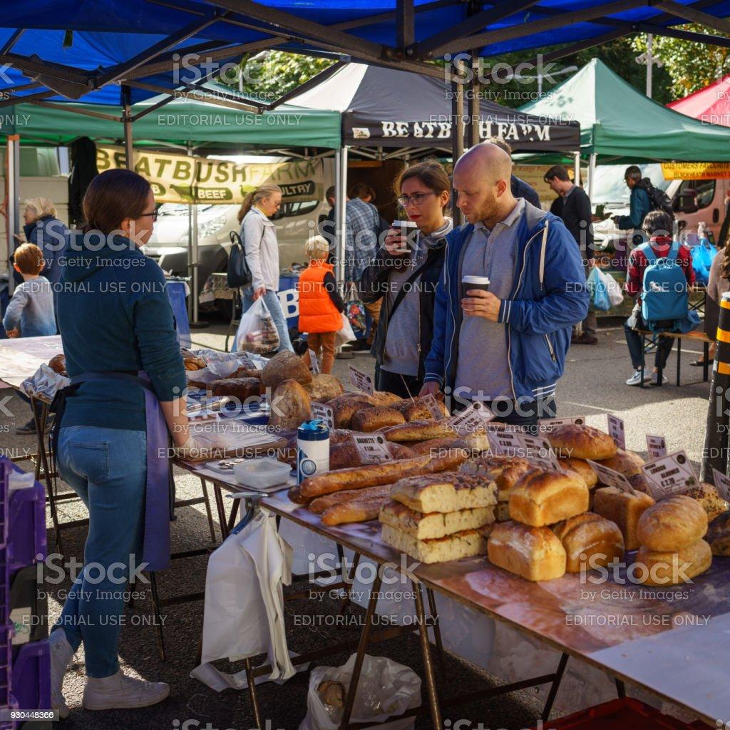 London, UK - March, 2018. Bakery stall in Blackheath Farmers\' Market,...