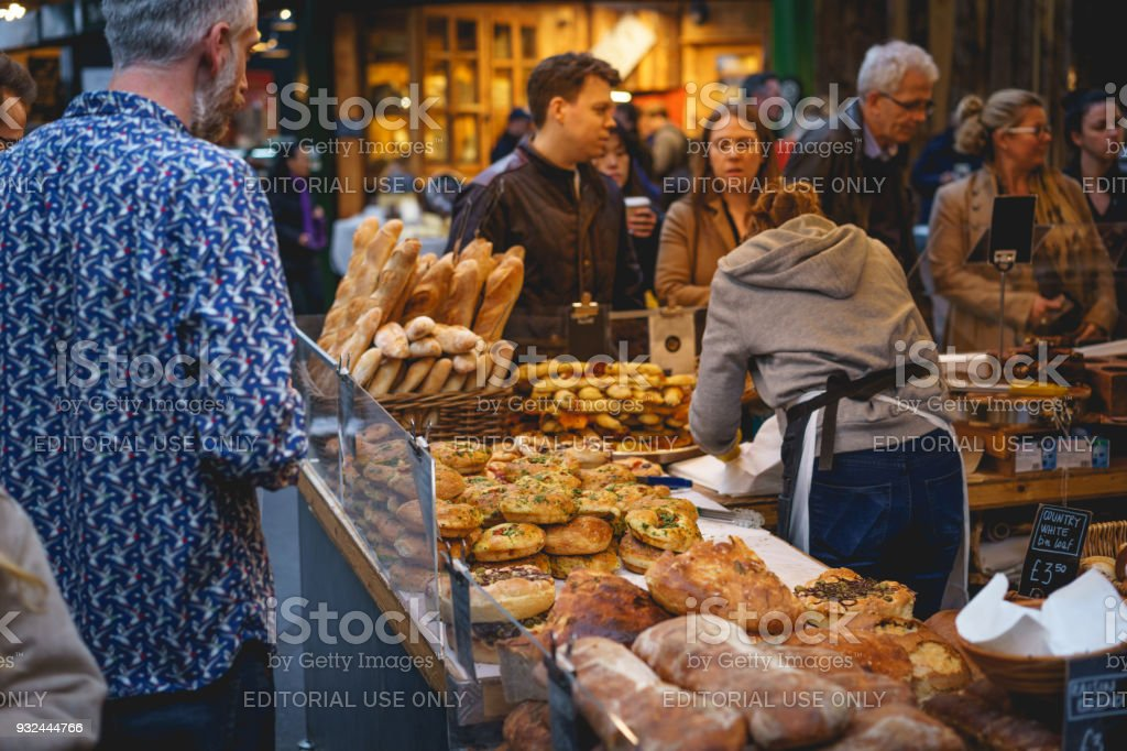 Bakery stall in Borough Market in London (UK). stock photo