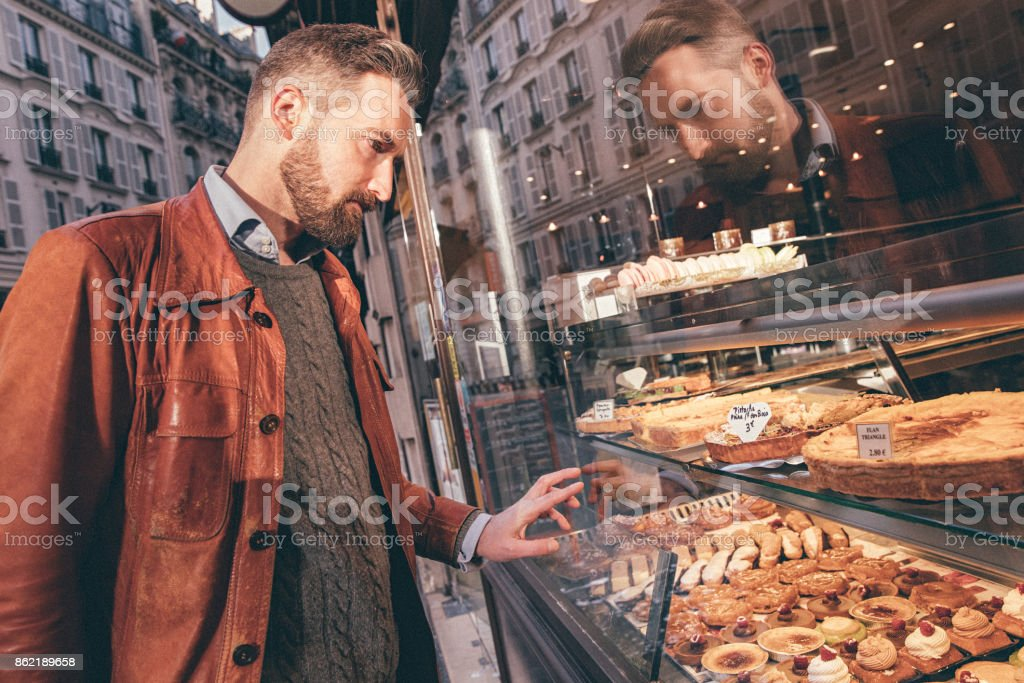 Bakery Window Shopping in Paris stock photo