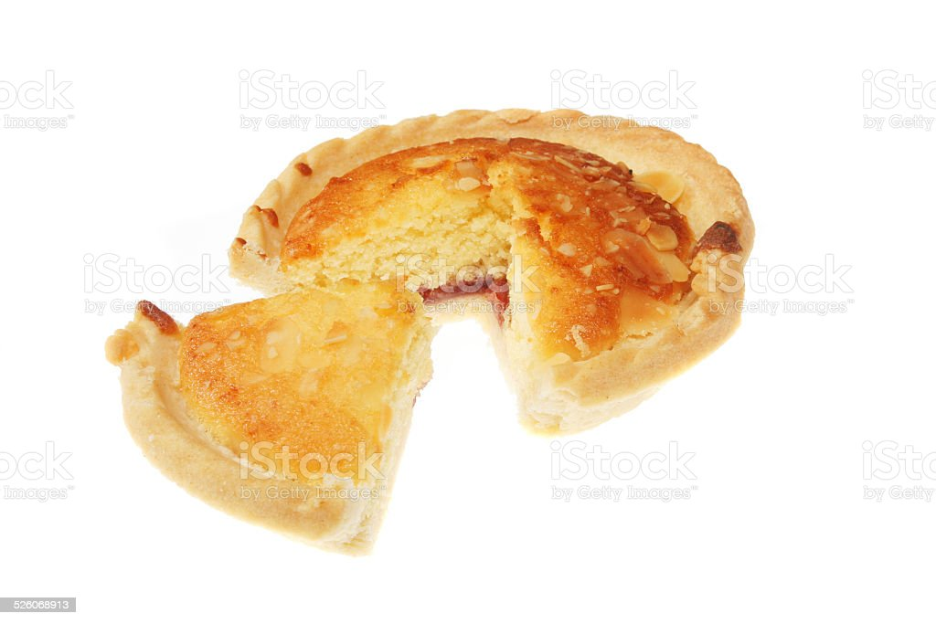 Bakewell Tart sliced stock photo