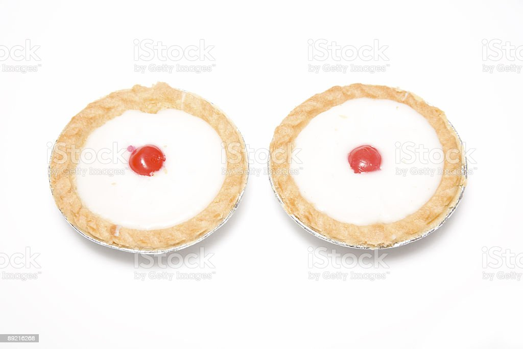Bakewell tarts isolated on a white background. stock photo