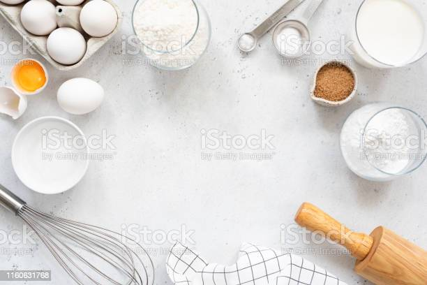 Baking and cooking ingredients on bright grey background picture id1160631768?b=1&k=6&m=1160631768&s=612x612&h=odatp8eqers9h2udfwiabfu0omupswgeil7nhcpo67w=