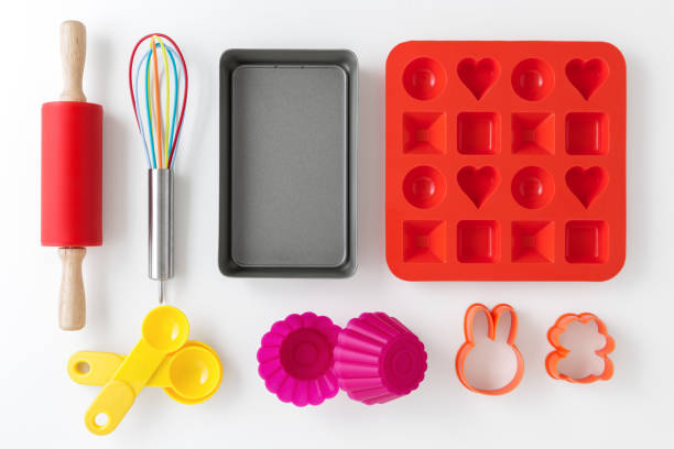 Baking and kitchen utensils stock photo