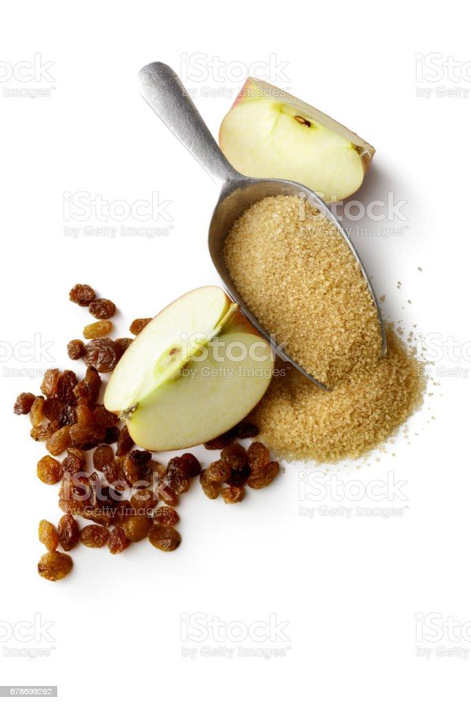 Baking: Apple, Sugar and Raisins Isolated on White Background stock photo