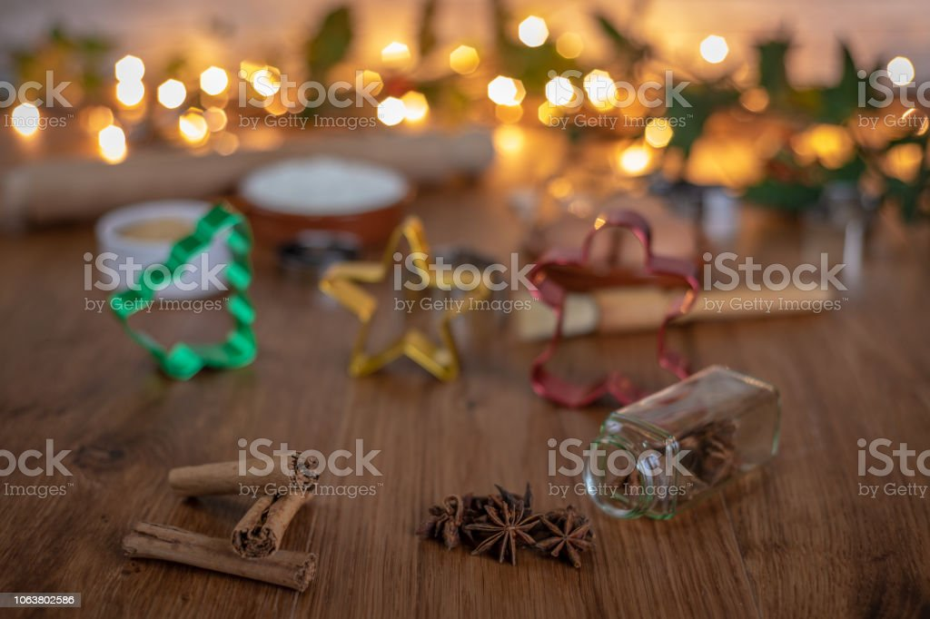 Baking at Christmas with cinnamon and star anise stock photo