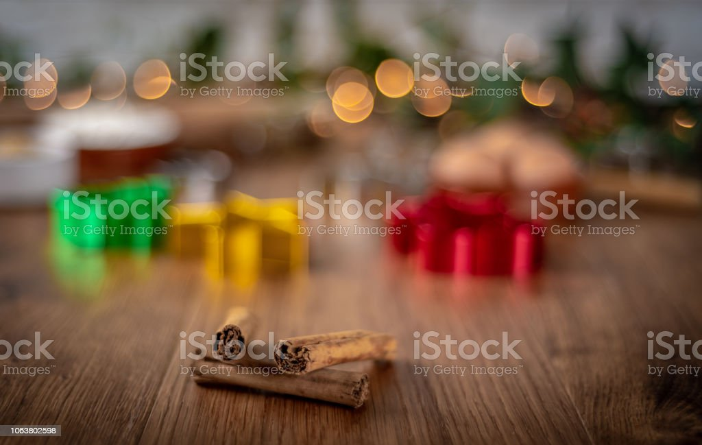 Baking at Christmas with cinnamon stock photo