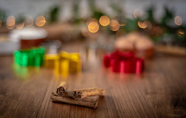 baking at christmas with cinnamon - christmas stock photos and pictures