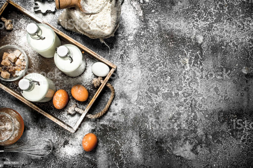 Baking background. Fresh ingredients for making dough. stock photo