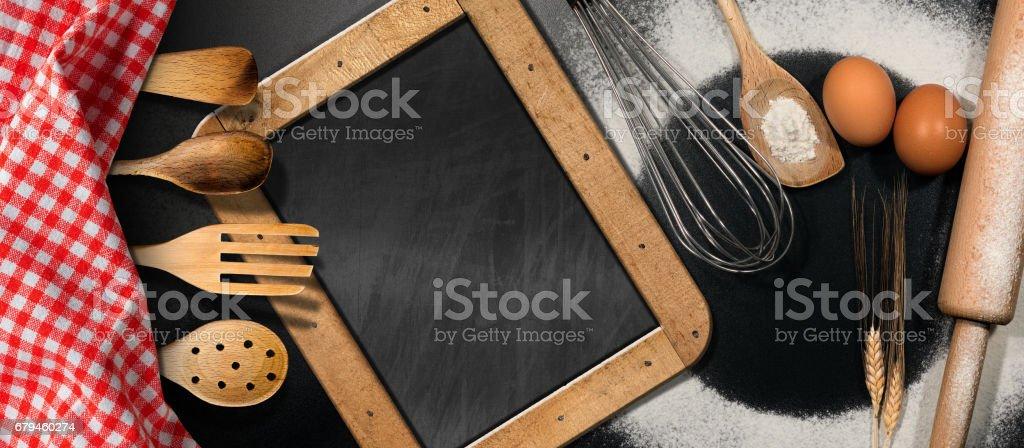 Baking Background with Empty Blackboard royalty-free stock photo