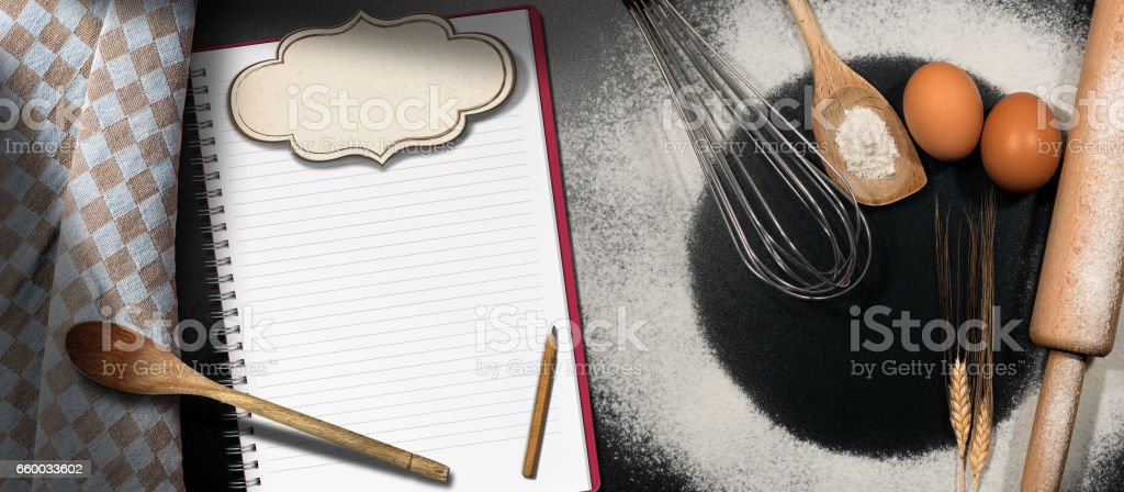 Baking Background with Empty Notebook stock photo