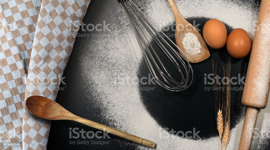 Baking Background with Flour and Utensils royalty-free stock photo