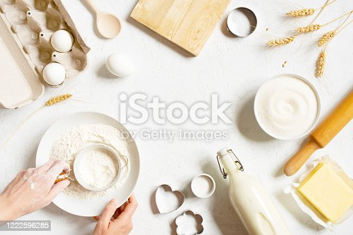 Baking background with organic ingredients